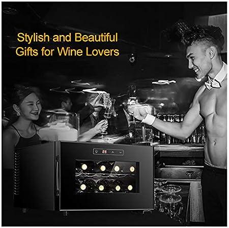 LLZH Vinoteca Electrónico, Frigorifico de Vino Tinto y Blanco, Nevera Vino de Bar Pequeño de 8 Botellas, Control Digital, Puerta de Vidrio, Mini Refrigerador de Mostrador,Horizontal