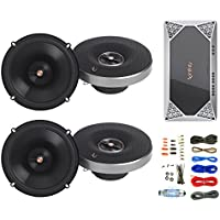 4x Infinity Primus Series 6.5 2-Way Multi-Element Speakers, with Infinity Reference Series REF-704A 4-Channel Car Audio Amplifier, Enrock Amp Kit
