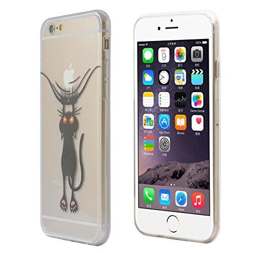 "iProtect TPU Schutzhülle Apple iPhone 6 (4,7"") 6s Soft Case Silikon - Gel Hülle Cartoon Katze"