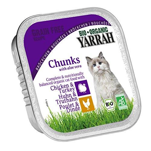 Yarrah Bröckchen Huhn Truthahn 100g Bio Katzenfutter, 16er Pack (16 x 0.1 kg)