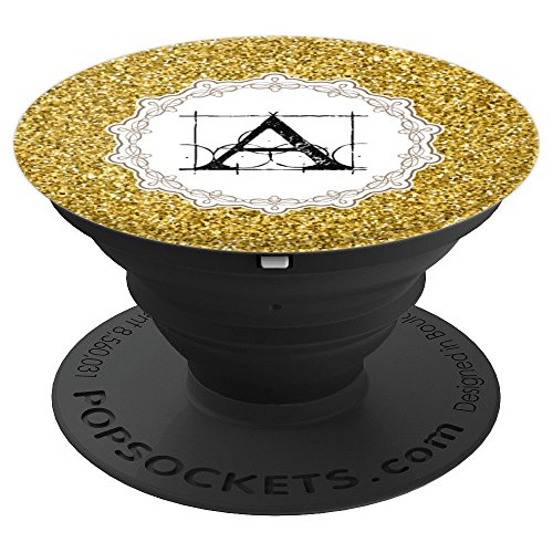 Cute Gold Glitter Lace Letter A Monogram Women Gift - PopSockets Grip and Stand for Phones and Tablets -