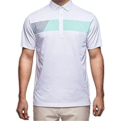 This style has a geometric contrasting colour cut and sew across the chest with a slim 4 button placket and open collar. This style is bold and makes a great statement within a merchandised collection. Lightweight jersey with a 4 button plack...