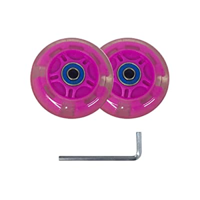 Serendipity Light Up LED Kick Scooter Replacement 80mm Wheels Set with 5mm Allen Key, ABEC-7 Bearings, Pink : Sports & Outdoors
