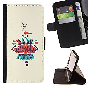 Momo Phone Case / Flip Funda de Cuero Case Cover - Chaud étreintes jaune de Noël Affiche - Sony Xperia Z5 Compact Z5 Mini (Not for Normal Z5)
