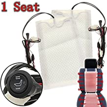 AUDEW Universal Car Seat Carbon Fiber Heated Seat Heater Pad H/ L Round Switch Kit 12V