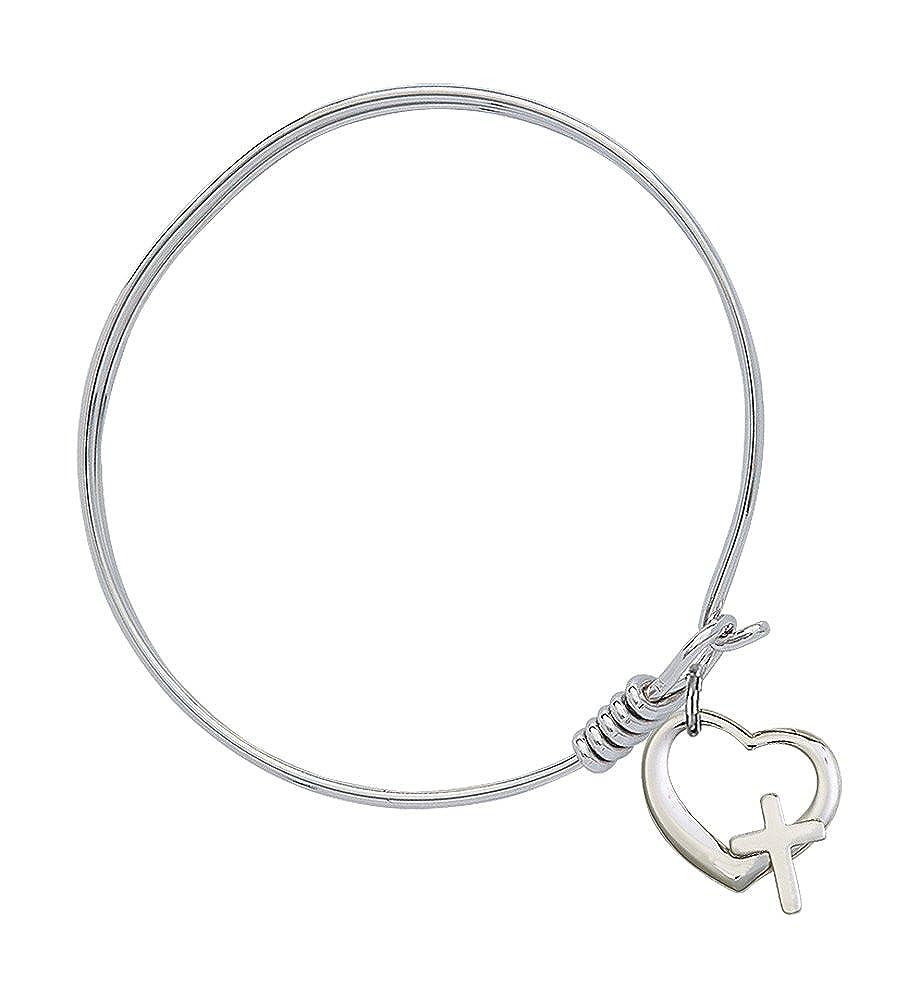 Bonyak Jewelry Round Eye Hook Bangle Bracelet w//Heart//Cross in Sterling Silver
