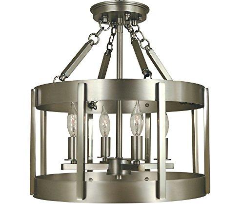 Framburg 4-Light Satin Pewter/Polished Nickel Pantheon Semiflush ()