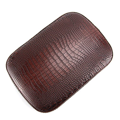 Oumurs Alligator Synthetic Leather Suction Cup Passenger Pillion Pad Seat Rectangle Cushion Pad for Harley Sporster XL 883 1200 Chopper Bobber Dyna Touring (8 Suction Cup Brown) by Oumurs (Image #1)