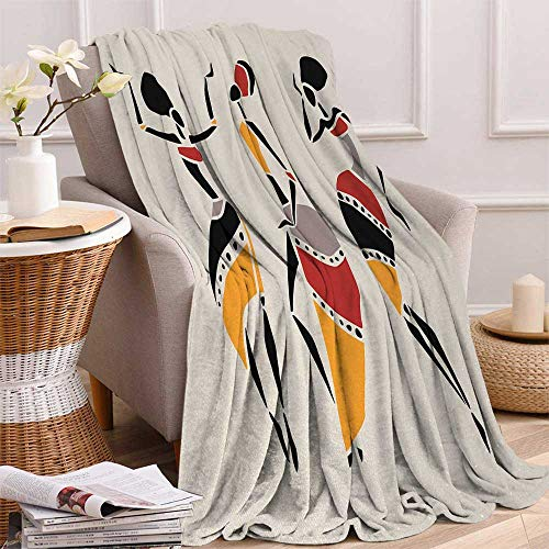 Betterull African Woman Throw Blanket African Dancers Silhouette Set Ethnic Native Dresses Party Carnival Tradition Velvet Plush Throw Blanket 60x36 Inch Multicolor (Dress Traditions Holiday Velvet)