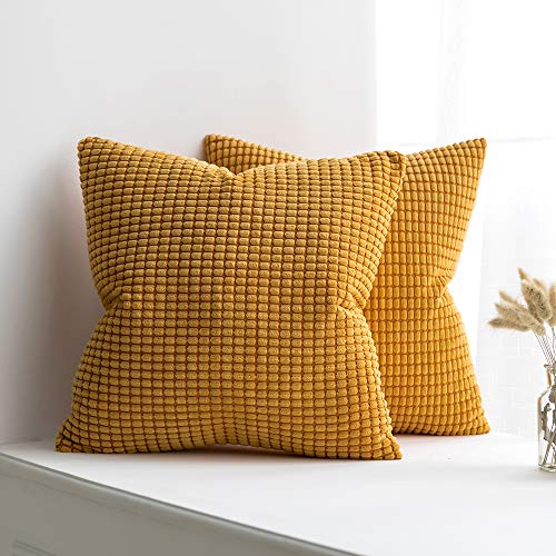 MUILEE Pack of 2 Corduroy Soft Soild Decorative Square Orange Throw Pillow Covers Set Cushion Case for Sofa Bedroom Car 18 x 18 Inch 45x45 cm