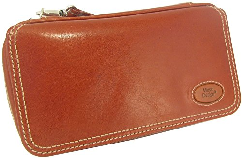Martin Wess Germany ''Country'' Brown Nappa Leather Vintage Look 3 Pipe Bag Case by Martin Wess