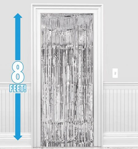 1 PACK 3' x 8' Silver Foil Fringed - For Door, Window, Curtain, Wall Decoration, Party Accessory, Parties, (Wedding Wall Drapes)