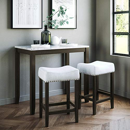 Nathan James 41202 Viktor Dining Set Kitchen Pub Table White Marble Top, Dark Brown Solid Wood Base, Light Gray Fabric Seat,