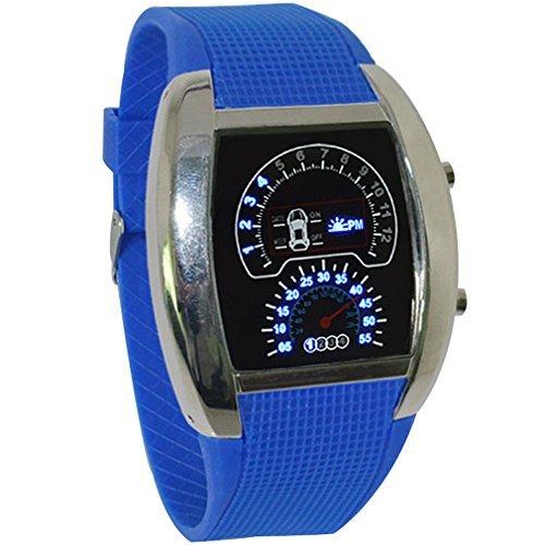 caleen 6 reloj para hombre RPM Turbo azul Flash LED velocímetro reloj de cuarzo color azul oscuro: Amazon.es: Relojes