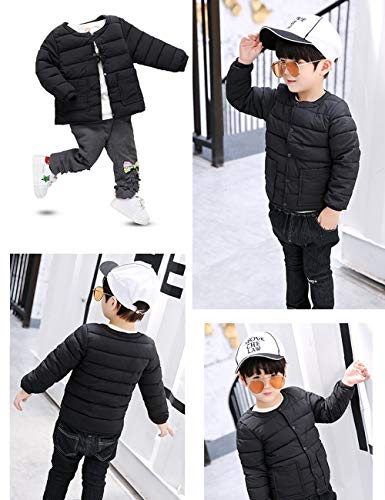 Outwear BESBOMIG Long Sleeve Coats Neck Warm Lightweight Cotton Jacket fit Boys Round Baby Black Slim Child Casual Girls for xqqYgnp4