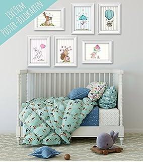 Poster Set Mit Niedlichen Tieren Für Baby  Oder Kinderzimmer    Wanddekoration Für Mädchen Und