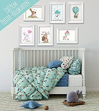 Poster Set Mit Niedlichen Tieren Fur Baby Oder Kinderzimmer