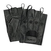 Olympia Sports Men's Fingerless Gel Gloves (Black, X-Small)