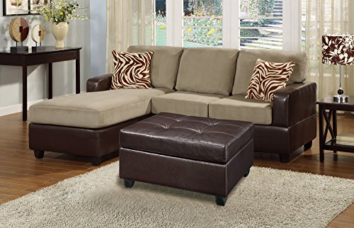 Bobkona Manhanttan Reversible Microfiber 3-Piece Sectional Sofa with Faux Leather Ottoman in Pebble Color