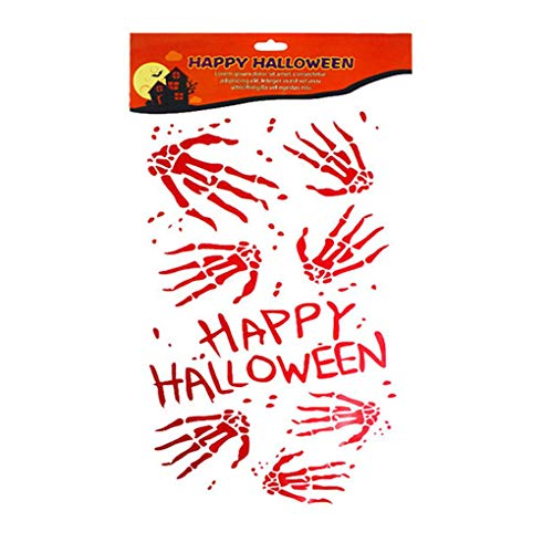 AUWU Halloween Bloody Handprint Boneprint Window Clings Decals Horror Zombie Party Decorations -