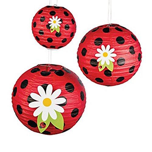 thaisan7 Unique Adorable Decor for Party & Festival, Ladybug Paper Lanterns, (3 Lantens 8