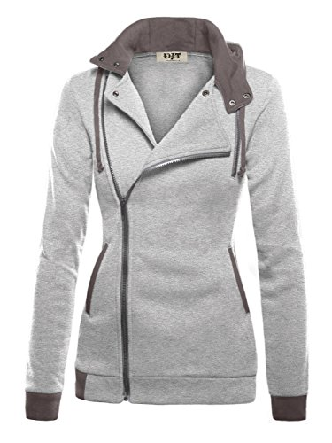 DJT Womens Oblique Zipper Slim Fit Hoodie Jacket Small Light Grey