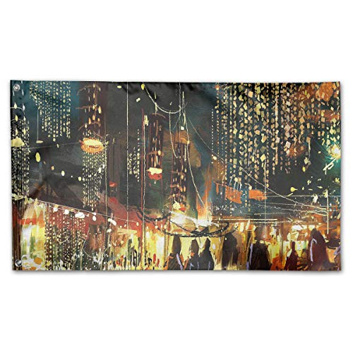 DIKKN Garden Flag Painting Street City Colorful Nightlife 59IN35IN Flags Party&Game Banner ()