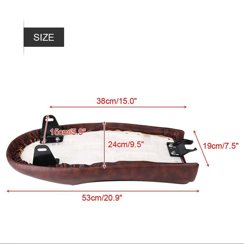 Hlyjoon Motorcycle Saddle Seat MotorbikePU Leather Vintage Cafe Racer Seat Flat Saddle Cushion for CG125 GN CG CB200 CB350 CB400SS CB500 CB750 SR400 SR500 XJ XS KZ Style A-Brown