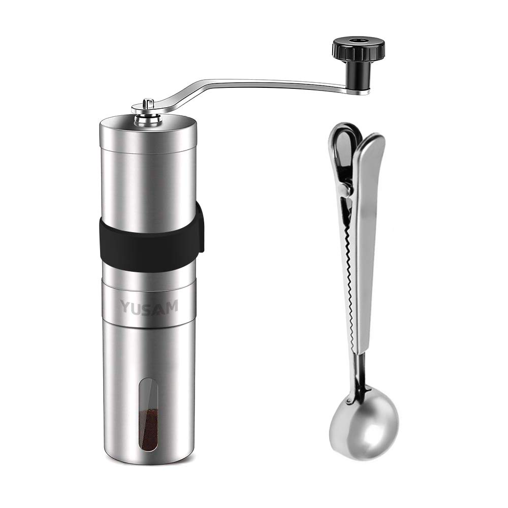 Yusam Manual Coffee Grinder, Brushed Stainless Steel Portable Hand Burr Coffee Bean Grinder Adjustable Ceramic Conical Burr Coffee Bean Mill with Spoon & Rubber Sleeve for Home Office Traveling Camping