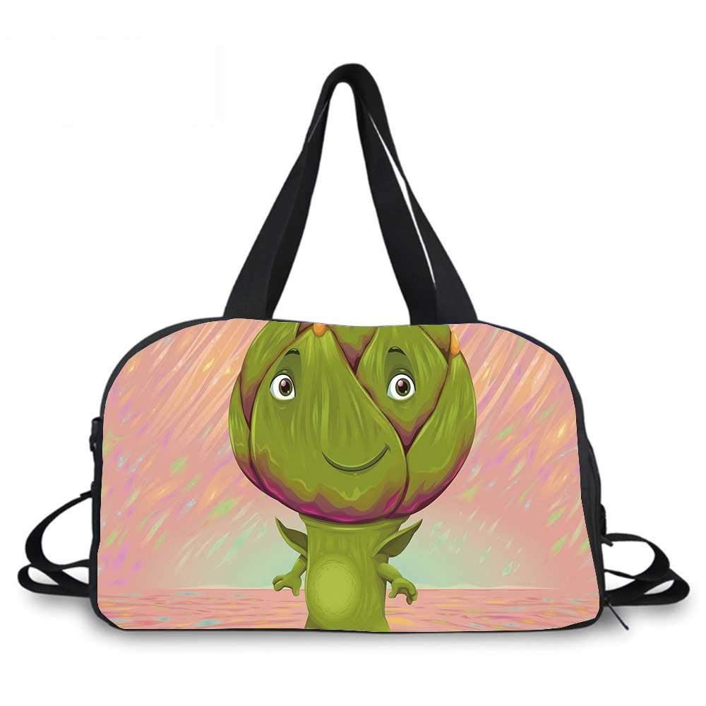 Artichoke Personality Travel Bag,Cute Artichoke Character with Little Hands and Feet Healthy Eating Mascot for Travel Airport,One_Size