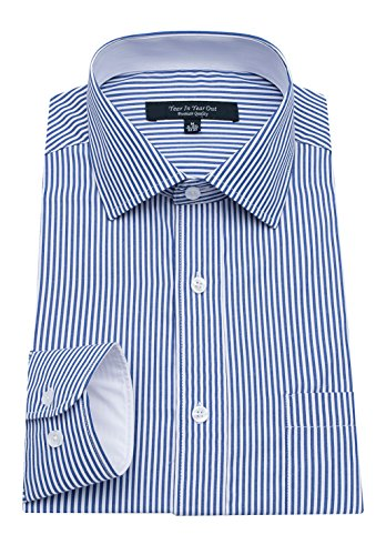 YEAR IN YEAR OUT Mens Long Sleeve Dress Shirts Slim Fit Mens Dress Shirts,Blue Stripe,17