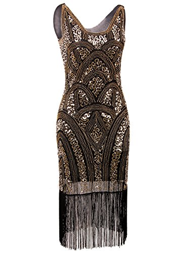 [Vijiv 1920s Vintage Inspired Sequin Embellished Fringe Prom Gatsby Flapper Dress, Gold, Large] (Gold Flapper Dress)