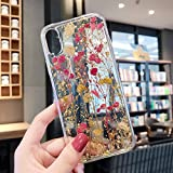 Real Flower Case for iPhone XR, Elegant Feibili Soft Silicone iPhone XR Cover with Handmade Pressed Dried Flowers, Transparent Ultra-Thin Ultra-Light Skin for iPhone XR (True Flower Feel) (B-002)