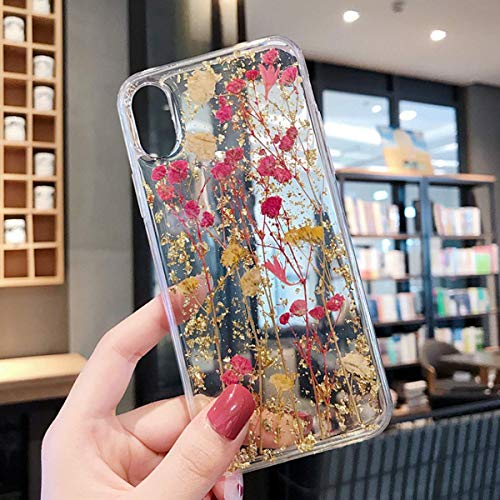 (Real Flower Case for iPhone XR, Elegant Feibili Soft Silicone iPhone XR Cover with Handmade Pressed Dried Flowers, Transparent Ultra-Thin Ultra-Light Skin for iPhone XR (True Flower Feel) (B-002) )