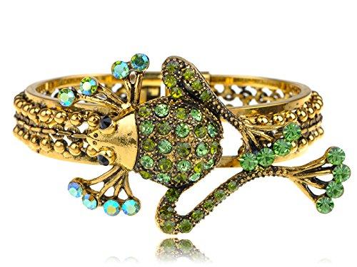 (Funky Synthetic Erinite Green Crystal Rhinestone Pond Frog Critter Bracelet Bangle Cuff)