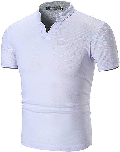 Saoye Fashion Camisas De Polo De Los Hombres Camisa De Manga Ropa Corta De Cuello Mandarín De Verano Tops Algodón De Color Sólido Delgado Camisa De Rugby De Golf Casual Tops: Amazon.es: