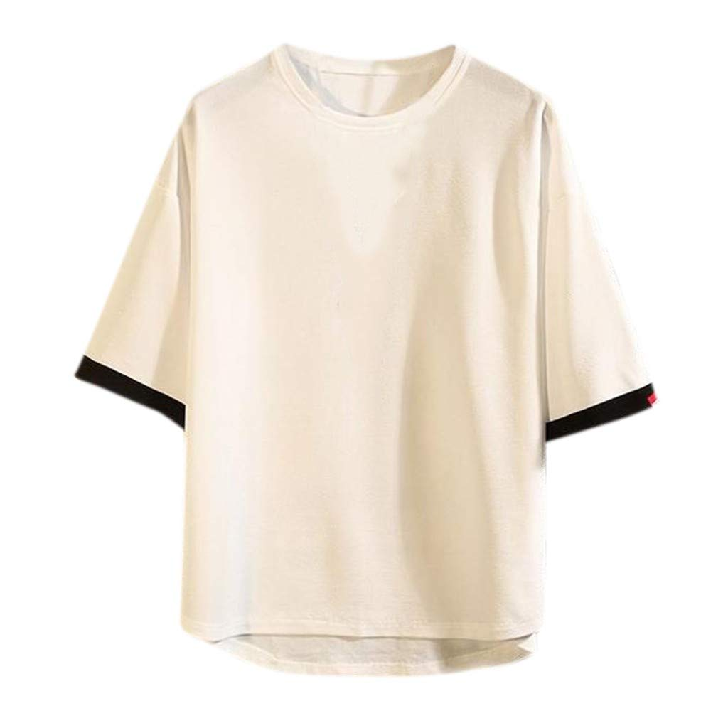 Short Sleeve Shirts for Men Cotton Linen Button Solid O-Neck Tops Blouses Teresamoon