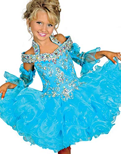 AVDA Infant Girls' Bateau Kids Gowns Pageant Cupcake Dresses 4 US Turquoise ()