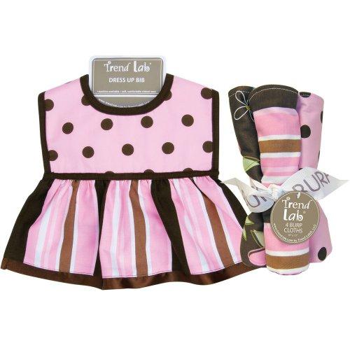 (MAYA DRESS UP BIB AND 4 PACK BURP CLOTH SET - Dress Up Bib - Maya Dot Body, Maya Stripe Skirt, Brown Trim and Ribbon Accent; Terry Back; 8 in x 14 in Burp Cloths - 4 Pack Set: Maya Dot Percale, Maya Stripe Twill, Blossoms Print Twill, Blossoms Stripe Percale; 1 each; 13