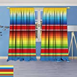 SOCOMIMI Blackout Curtains Thickening Polyester, Mexican Serape Blanket Vector Thermal Insulated Grommet for Living Room, 108W x 108L inch