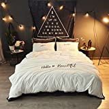 Flannel Winter Bedding Set Beige - Bed Skirt and Duvet Cover Fringe No Fading Home Textiles Full
