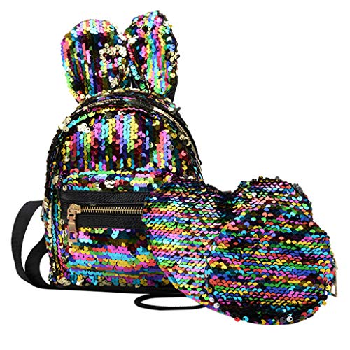Sequin+PU School Backpack Set 3 Pieces Lightweight Teen Girls Bookbags Tote Bag Pencil Case Hangbag & LYN -
