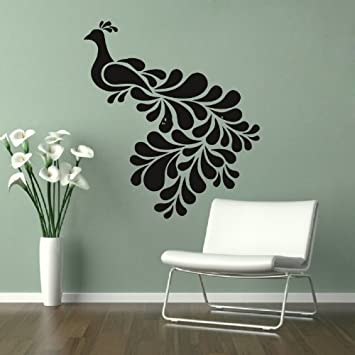 Housewares Vinyl Decal Beautiful Peacock With Beautiful Tail Home