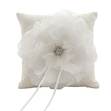 Cojín para anillos de boda, color crema, con diamantes de ...