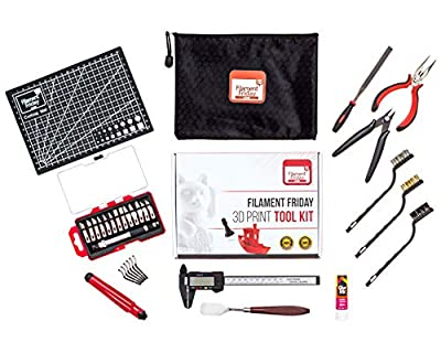 Filament Friday 3D Print Tool Kit - 32 Essential 3D Print Accessories for Finishing and Cleaning 3D Prints - Includes Convenient Zipper Pouch and Removal Tool - Official Filament Friday 3D Print Tool
