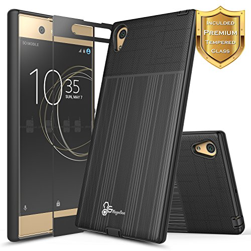Price comparison product image Xperia XA1 Ultra Case with [Full Cover Tempered Glass Screen Protector], NageBee [Brushed] Heavy Duty Defender Dual Layer Protector Case For Sony Xperia XA1 Ultra (Black)