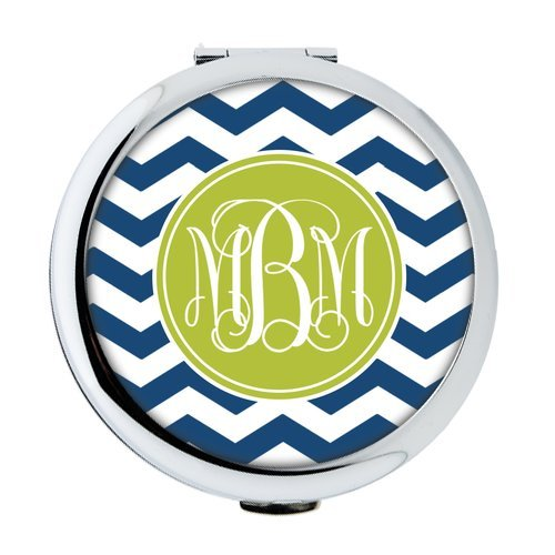 iFUOFF Compact Makeup Mirror, Navy Blue and white Zigzag Chevron Geometric Seamless Patterns VS Green Monograms Customized Round Ultra-thin 0.8cm Compact Makeup Mirror ()
