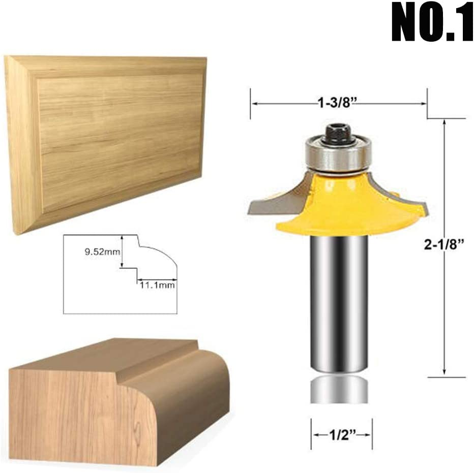 LEATBUY 3 PCS Router Bit Set 1//2-Inch Shank Round Over Raised Panel Cabinet Door Ogee Rail and Stile Router Bits Wood Carbide Groove Tongue Milling Tool B-14 Woodworking Wood Cutter