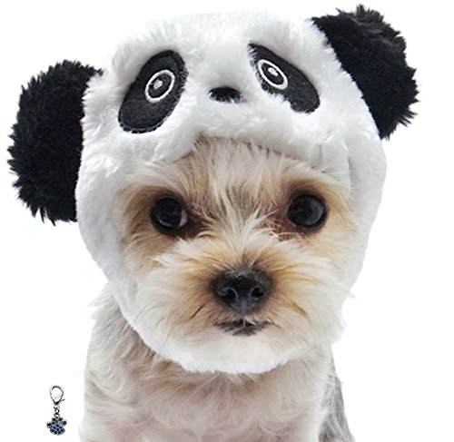Plush Faux Fur Panda Bear Hat with Charm for Dogs Sizes XS Thru XL (Panda, Small fits 11.5