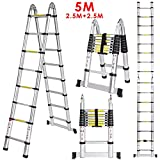Homdox Aluminum Telescopic Ladder A Frame Multi-purpose Extendable Ladder 5m Maximum Loading 150kg (EN131/CE Certificate included)
